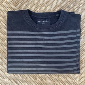 AllSaints Oversized Black Striped Sweatshirt